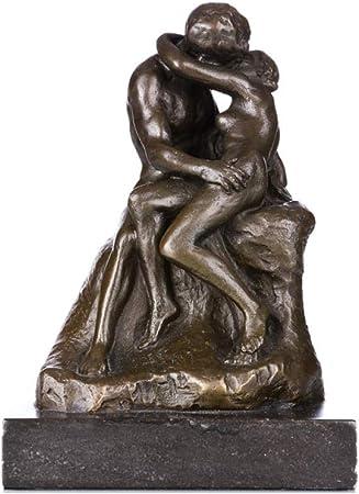 AIJOAN-BJ Estatuillas Decoracion Estatua De La Escultura Estatuilla De Bronce El Beso De La Famosa Escultura Clásica De Cobre: Amazon.es: Hogar