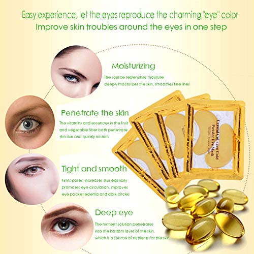 51c0g3JUksL - Under Eye Patches, Eye Mask, Gold Under Eye Mask, Gold Eye Mask, Eye Pads, Collagen Eye Patch, JUYOU Eye Patch For Anti-wrinkles, Puffy Eyes, Dark Circles, Fine Lines Treatment (30Pairs 24k Gold)