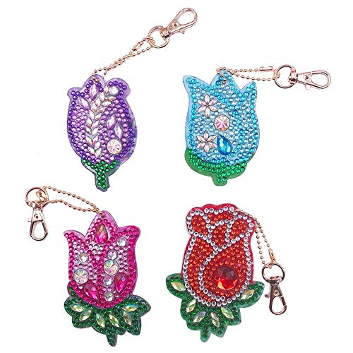 DIY Diamond Painting Keychains, Special Shaped Flower Diamond Painting Ornaments Pendants, Small Diamond Art for Kids and Adult Beginners (4pcs)