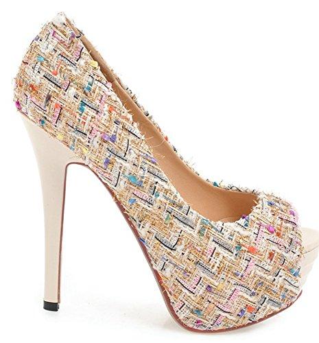 Anlarach Women's Ladies Sexy Mesh Fashion Platform Slip On Evening Wedding Peep Toe Pumps High Cone Heel Ankle Sandals Beige BQcqfT2w
