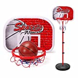 SZJJX 65' Basketball Set Junior Height Adjustable Pro Shooting Hoops Youth Portable Indoor Basketball Goal Hoop Court Stand System Ground Basketball System with Anchor Kit Ball and Pump Kids