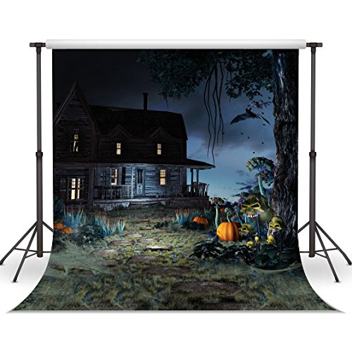 LYWYGG Halloween Backdrop Pumpkin Backgounds 10x10FT Dark Cabin Backdrops for Children Halloween Celebration Photography Studio Photo CP-53]()