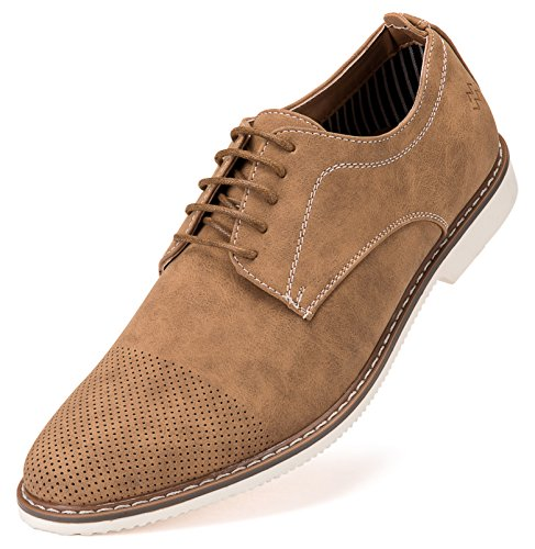 Mio Marino Mens Casual Shoes - Suede Shoes - Perforated Toe - Oxford Shoes Men, in A Shoe Bag