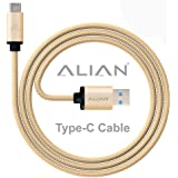 ALIAN Type-C Cable | Nylon Braided | 1 Meter with Quick Charging (3.0 Amp) [Check-R Passed] - Gold Color