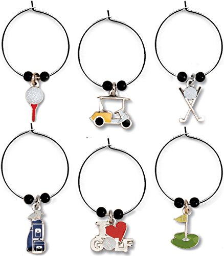 Golfers Gift Set - GOLF Wine Glass Charms Set of 6 Silver Tone Enameled Themed Charms for the 19th Hole in a Black Organza Bag for Giving and Storage Great Gift for Women Golfers Includes Ball on Tee, Cart, Clubs, Bag