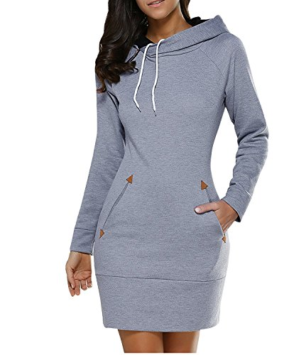 BUIBIU Women's Long Sleeve Cotton Slim Fit Midi Hoodie Dress with Pocket Gray #1 M
