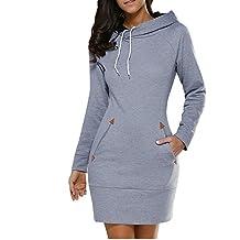BUIBIU Women's Long Sleeve Cotton Slim Fit Midi Hoodie Dress with Pocket