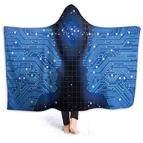 prunushome Wearable Hooded Blanket Blue Backgroun High Tech Circuit Boar Wearable Blanket Sherpa Poncho Cloak Hooded, 80W by 60H Inches