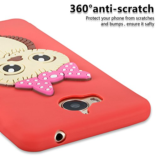 Owl Scratch Protector Shockproof 3D Case Cartoon Screen Protective idatog Free Huawei 7X Skin Design Back Honor Cute Creative For Cover Case Cover Soft Flexible TPU Anti HD Silicone Red Gel Case Bumper nFxwYqPqS