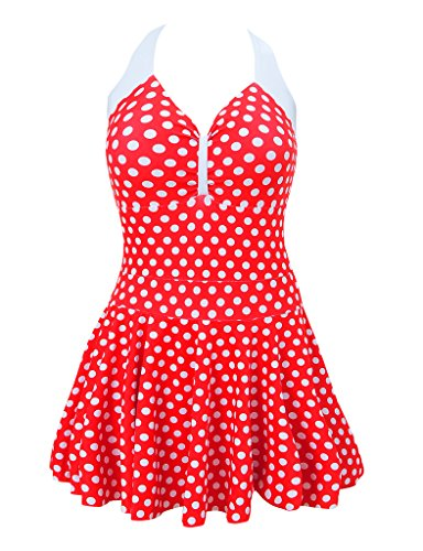 MorryOddy 50s Vintage Swimwear One Piece Push Up Red X-Large(US 16-18)