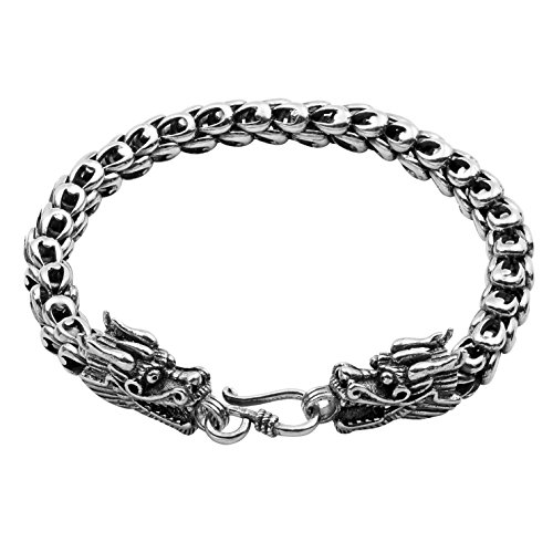 Wellme Sterling Silver Dragon Bracelet - Handmade Vintage 925 Jewelry 7'' 7.5'' 8'' 8.5'' or 9'' (Sterling Silver, 7mm Wide, 8 inches)