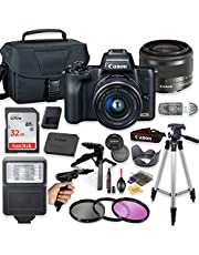 """Canon EOS M50 Mirrorless Digital Camera (Black) with 15-45mm STM Lens + Deluxe Accessory Bundle Including Sandisk 32GB Card, Canon Case, Flash, Grip Multi Angle Tripod, 50"""" Tripod, Filters and More. photo"""