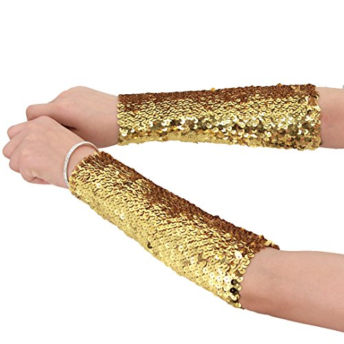 Novia's Choice Women Shiny Sequin Stretchy Oversleeves Sparkle Performance Cosplay Costume Cuffs(Gold)