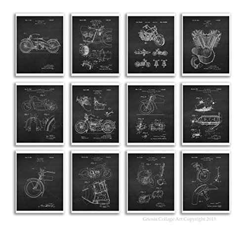 (Gnosis Picture Archive Harley Decor Set of 12 Motorcycle Patent Prints Unframed 8x10 Biker Home Decor Black Chalkboard Wall Art)