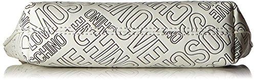 Love Moschino Damen Bustina Embossed Pu Bianco Handgelenkstasche, Weiß (White), 10 x 21 x 5 cm