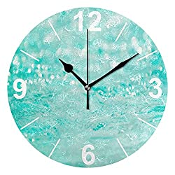 ALAZA Tropical Ocean Glitter Sparkle Round Acrylic Wall Clock, Silent Non Ticking Oil Painting Home Office School Decorative Clock Art