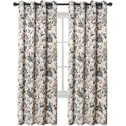 H.VERSAILTEX Thermal Insulated Grommet Blackout Curtains for Bedroom Floral Printing Curtains 52 by 84 inch Length, Set of 2 Panels, Traditional Floral Pattern in Sage and Brown