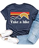 Enmeng Womens Casual Take A Hike Letter Print T-Shirt Short Sleeve Hiker Tee Tops (L, Navy)