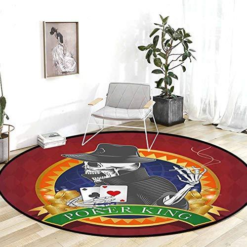 Kitchen Rugs Skull Casino Background with Dead Skeleton Poker King Gambler Vegas Smart Game Graphic Multicolor Chair mat for Carpet 6.7'Round
