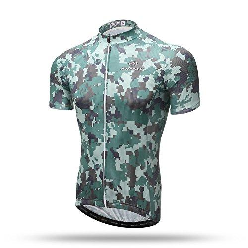 Xintow Men Cycling Jersey Short Sleeve Bicycle Shirts Bike Bib Shorts Racing Clothing Wear Suit Camo Color D3011 (1 Shirts, XL)