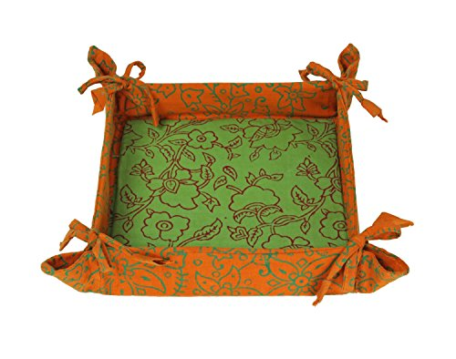 Foliage Patterned Key Coin Wallet Desk Organizer Valet Tray Handcrafted Fabric Holder with Beautiful Prints