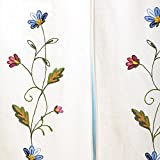 Queenie® – 1 Pc Floral Embroidered Cotton Linen Door Curtain 33.5 X 59 Inch (85 X 150 Cm) (Pattern 1 : Red & Blue floral)