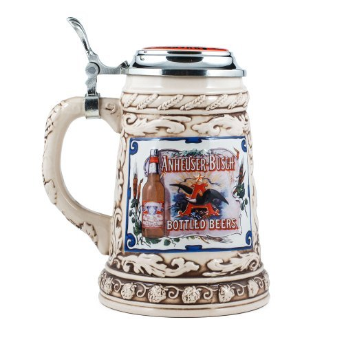 Anheuser-Busch Collector's Stoneware Stein with Pewter Lid - Limited Edition - .75 Liter (Anheuser Busch Collector Steins)