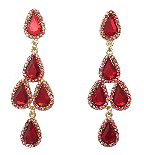 Pageant Gown Earrings (Red AB Rhinestone Prom Formal Teardrop Cluster Dangle Gold Tone)