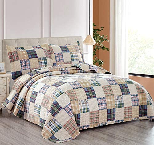 Beige Plaid Quilt Set King Size Country Patchwork Bedding Quilt Lightweight Reversible Bedspread CoverletSham Soft All Season Bed Coverlet Set 1 Quilt 2 Pillow Shams (Beige King)