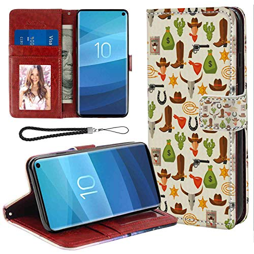 Samsung Galaxy S10e Wallet Case, Western American Elements Cartoon Horseshoe Money Ranch Spiky Cactus Pattern Illustration Multicolor PU Leather Folio Case with Card Holder and ID Coin Slot