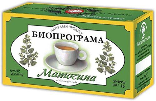 Melissa Herbal Tea - 2 Boxes Lemon Balm/ Melissa Herbal Tea 40 Tea Bags. Natural Product By Bioprograma