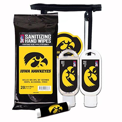 Worthy Promotional NCAA Iowa Hawkeyes 4-Piece Premium Gift Set with SPF 15 Lip Balm, Sanitizer, Wipes, Sunscreen
