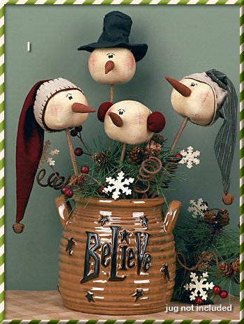 Country Snowman Ornament (Christmas Primitive Country Whimsy Rolly Polly Snowman Wand Set)