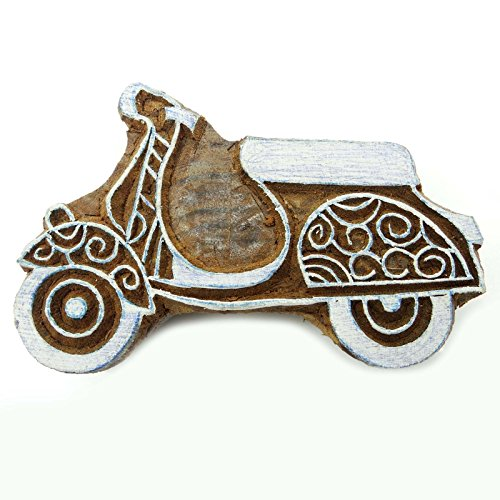 Scooter Wooden Decorative Hand Carved Printing Blocks Indian Stamps