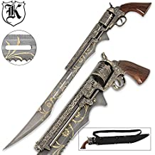 """Otherworld Steampunk Gun Blade Sword With Nylon Shoulder Sheath - Antique Finish, Laser-Etched And Engraved Accents, Spinning Barrel - 26"""" Length"""