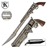 (US) Otherworld Steampunk Gun Blade Sword With Nylon Shoulder Sheath - Antique Finish, Laser-Etched And Engraved Accents, Spinning Barrel - 26