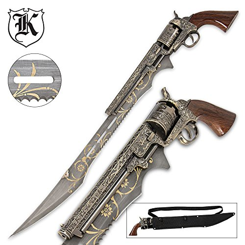 "Otherworld Steampunk Gun Blade Sword With Nylon Shoulder Sheath - Antique Finish, Laser-Etched And Engraved Accents, Spinning Barrel - 26"" Length"