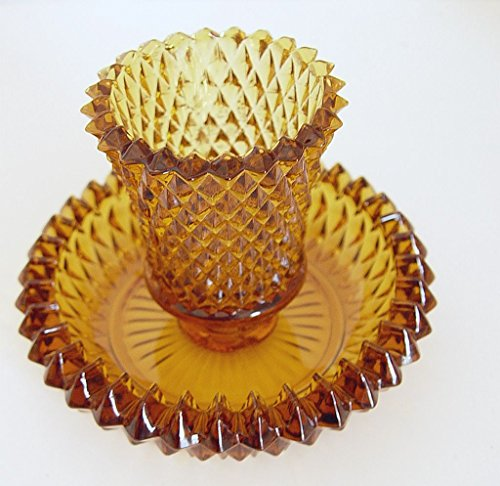 Amber Indiana Glass (Amber Gold Diamond Point Indiana Glass Two Piece Tapered Candle and Votive Holder)