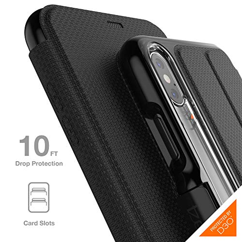 - Gear4 Oxford Folio Case with Advanced Impact Protection [ Protected by D3O ], Stand Function, Card Slots, Slim, Tough Design for iPhone Xs Max - Black