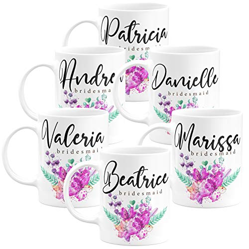 Personalized Bridesmaid Coffee Mug Gifts with Name and Title - 11oz - Wedding Favors,Party Favors, Bridesmaid Gifts, Housewarming Gifts - Design 3 - Set of 6