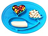 Whale Happy Placemat, One Piece Silicone Suction Placemat and Plate – for Kids, Toddlers and Babies (Blue)