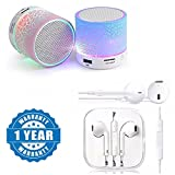 Drumstone Colorful LED Light Crack Pattern Mini Stereo Portable Wireless Bluetooth Speaker with Premium Quality Generic Wired Earpod Works with all Android or Iphone Devices (1 Year Warranty, Color May Vary)