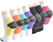 Compression Socks for Women and Men, 7 Pairs Low Cut Plantar Fasciitis Socks