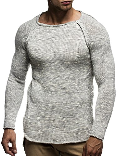 Hommes Des Grau En Pullover Manche Hoodie Longue Col Ln20713 Neck Sweater Basic Pour Tricot Sweatshirt Rond Crew Leif Nelson Pull Feinstrick qBntYRg