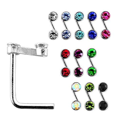 20 Pieces Box Set of Double Jeweled S Shape Top Sterling Silver L Bend Nose Stud Jewelry