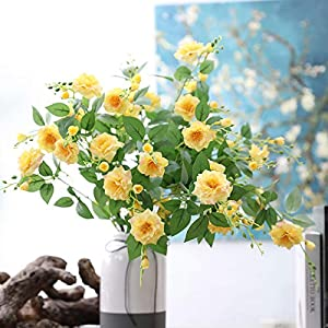 SELLBINDING 1 Bouquet 20 Heads Artificial Rose Colorful Silk Flower Peony Flores Fake Flowers for Beauty Home Party Wedding Decoration (Yellow) 22