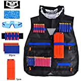 Kids Tactical Vest Kit Compatible with Nerf Guns N-Strike Elite Series, with 20 Pcs Refill Darts, 1 Reload Clips, 2 Face Tube Mask, 1 Hand Wrist Band and Protective Glasses