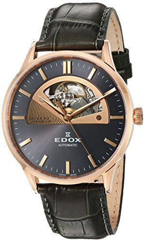 Edox Men's 85014 37R GIR Les Vauberts Analog Display Swiss Automatic Brown Watch