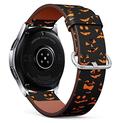 S-Type Replacement Leather Strap Printing Wristbands Compatible with Samsung Galaxy Watch 42mm 46mm Watch Band - Pattern with Orange Halloween Pumpkins Carved Faces]()