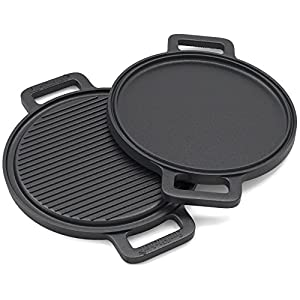 EurKitchen Pre-Seasoned Two-Sided Cast Iron Pizza Stone, Griddle and Grill Pan w/ Reinforced Handles - 13.5-inch - Perfect for Use on a Stovetop, BBQ, or Oven